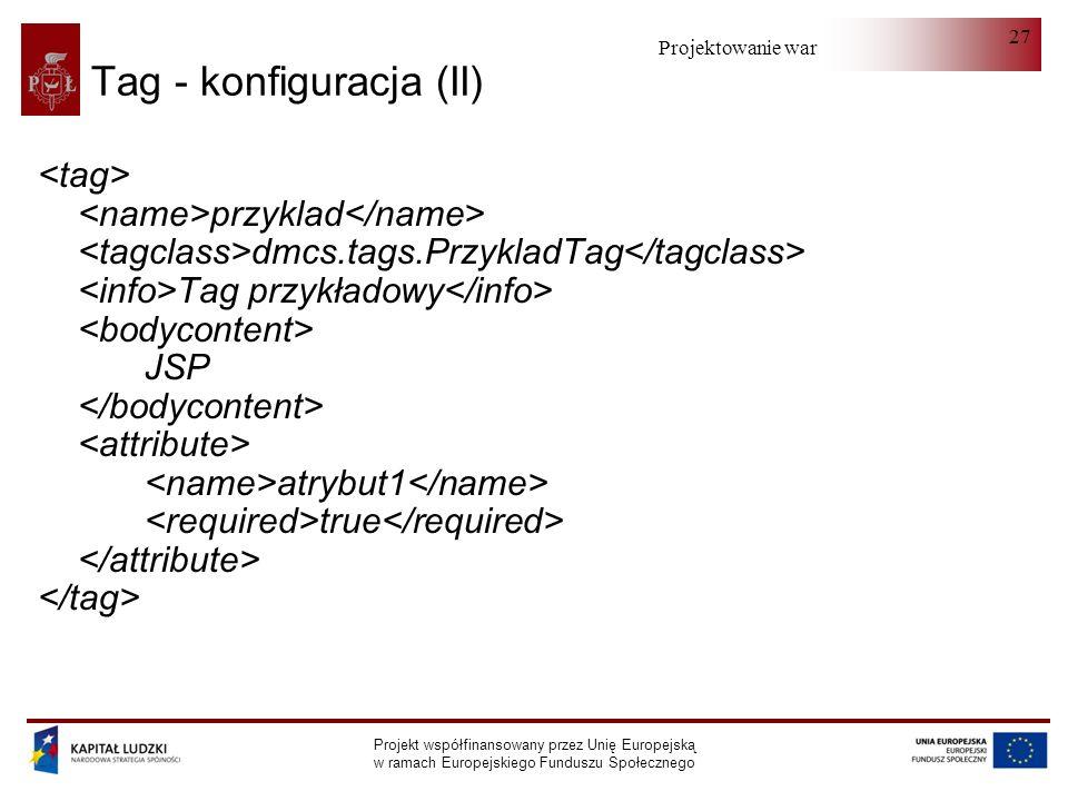 Projektowanie warstwy serwera Projekt współfinansowany przez Unię Europejską w ramach Europejskiego Funduszu Społecznego 27 Tag - konfiguracja (II) przyklad dmcs.tags.PrzykladTag Tag przykładowy JSP atrybut1 true