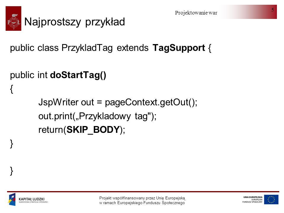 Projektowanie warstwy serwera Projekt współfinansowany przez Unię Europejską w ramach Europejskiego Funduszu Społecznego 5 Najprostszy przykład public class PrzykladTag extends TagSupport { public int doStartTag() { JspWriter out = pageContext.getOut(); out.print(Przykladowy tag ); return(SKIP_BODY); }