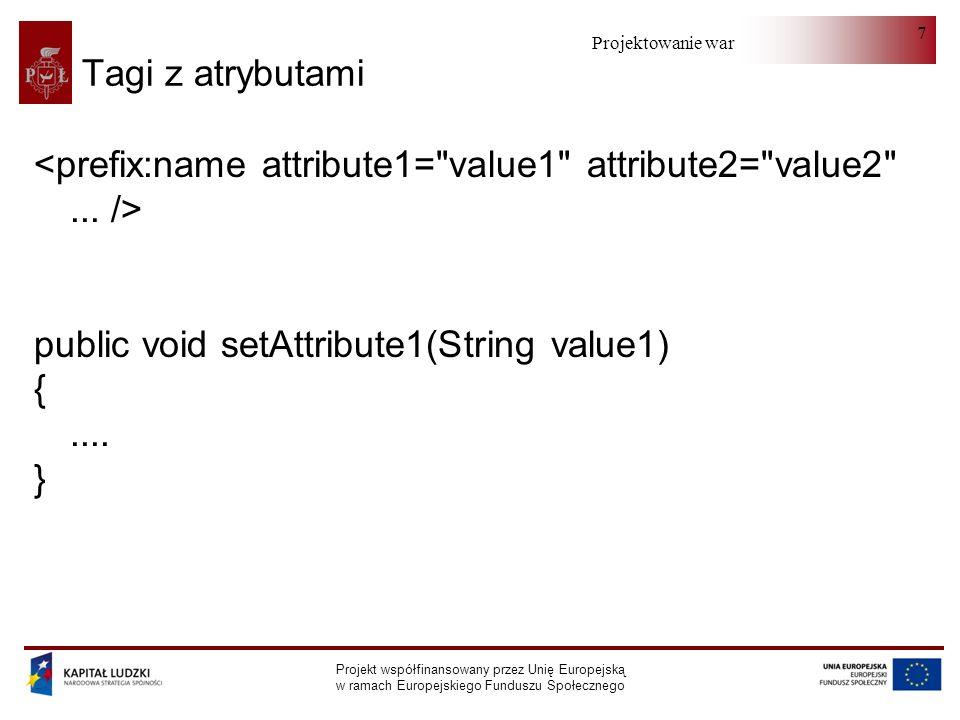 Projektowanie warstwy serwera Projekt współfinansowany przez Unię Europejską w ramach Europejskiego Funduszu Społecznego 7 Tagi z atrybutami public void setAttribute1(String value1) {....