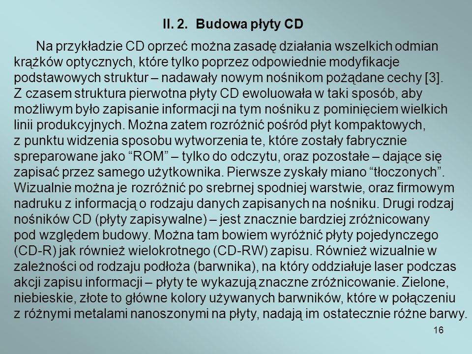 16 II. 2. Budowa płyty CD Na przykładzie CD oprzeć można zasadę działania wszelkich odmian krążków optycznych, które tylko poprzez odpowiednie modyfik