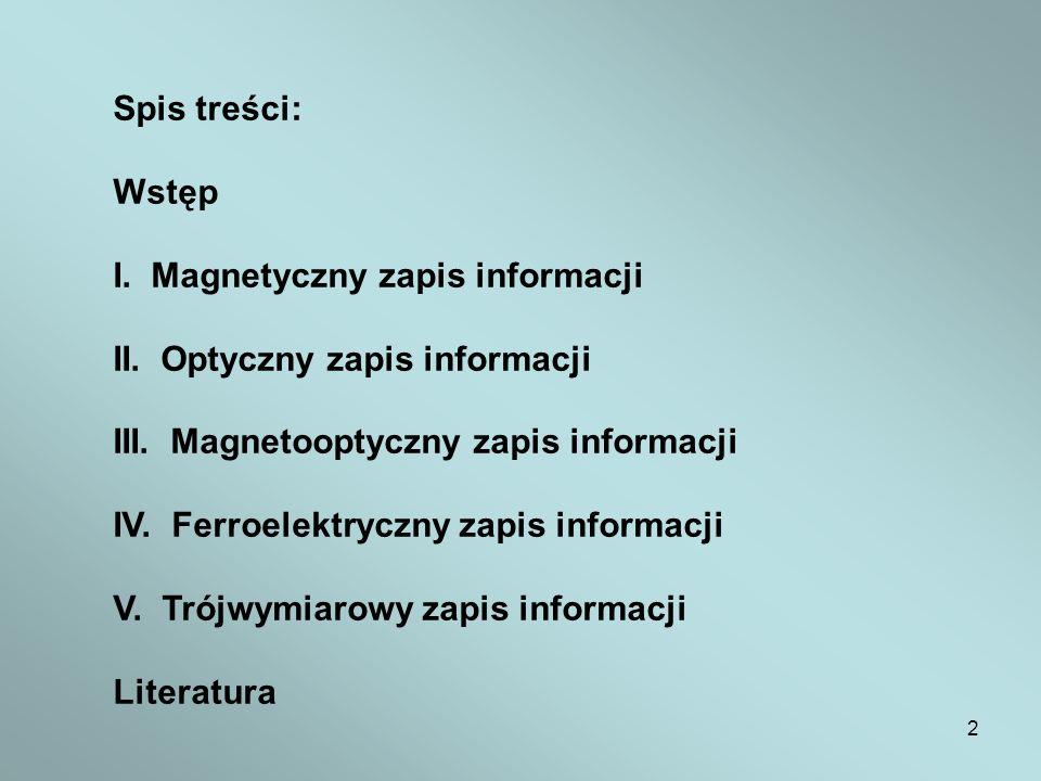 2 Spis treści: Wstęp I. Magnetyczny zapis informacji II. Optyczny zapis informacji III. Magnetooptyczny zapis informacji IV. Ferroelektryczny zapis in