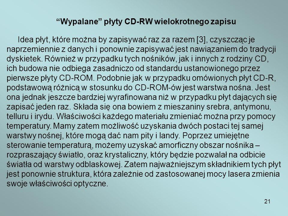 21 Wypalane płyty CD-RW wielokrotnego zapisu Idea płyt, które można by zapisywać raz za razem [3], czyszcząc je naprzemiennie z danych i ponownie zapi