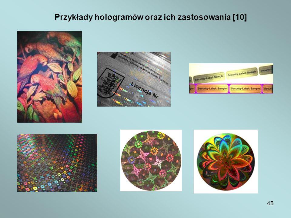 45 Przykłady hologramów oraz ich zastosowania [10]