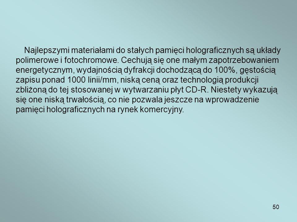 50 Najlepszymi materiałami do stałych pamięci holograficznych są układy polimerowe i fotochromowe. Cechują się one małym zapotrzebowaniem energetyczny