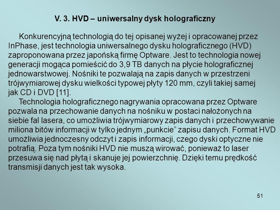 51 V. 3. HVD – uniwersalny dysk holograficzny Konkurencyjną technologią do tej opisanej wyżej i opracowanej przez InPhase, jest technologia uniwersaln