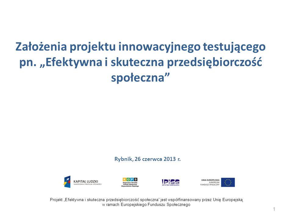 Założenia projektu innowacyjnego testującego pn. Efektywna i skuteczna przedsiębiorczość społeczna Rybnik, 26 czerwca 2013 r. Projekt Efektywna i skut