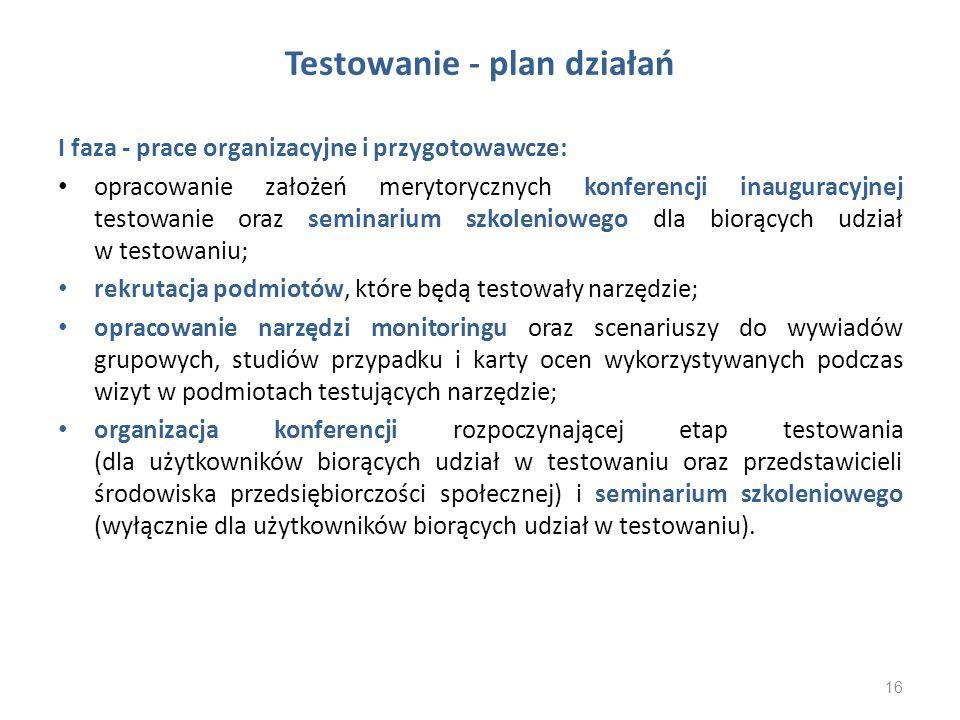 Testowanie - plan działań I faza - prace organizacyjne i przygotowawcze: opracowanie założeń merytorycznych konferencji inauguracyjnej testowanie oraz