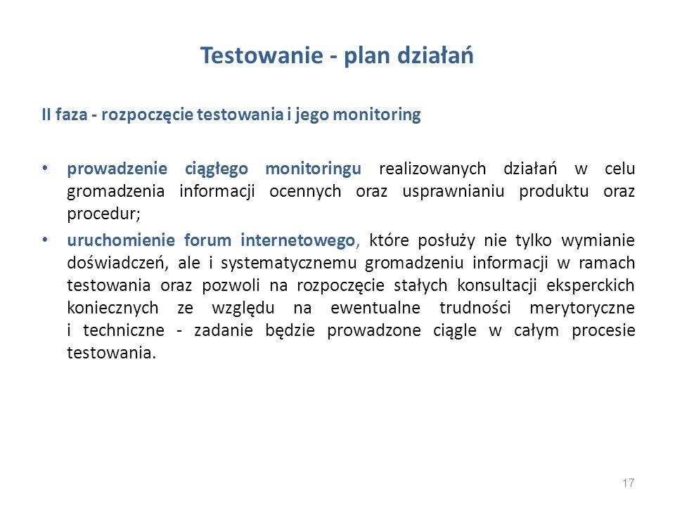 Testowanie - plan działań II faza - rozpoczęcie testowania i jego monitoring prowadzenie ciągłego monitoringu realizowanych działań w celu gromadzenia
