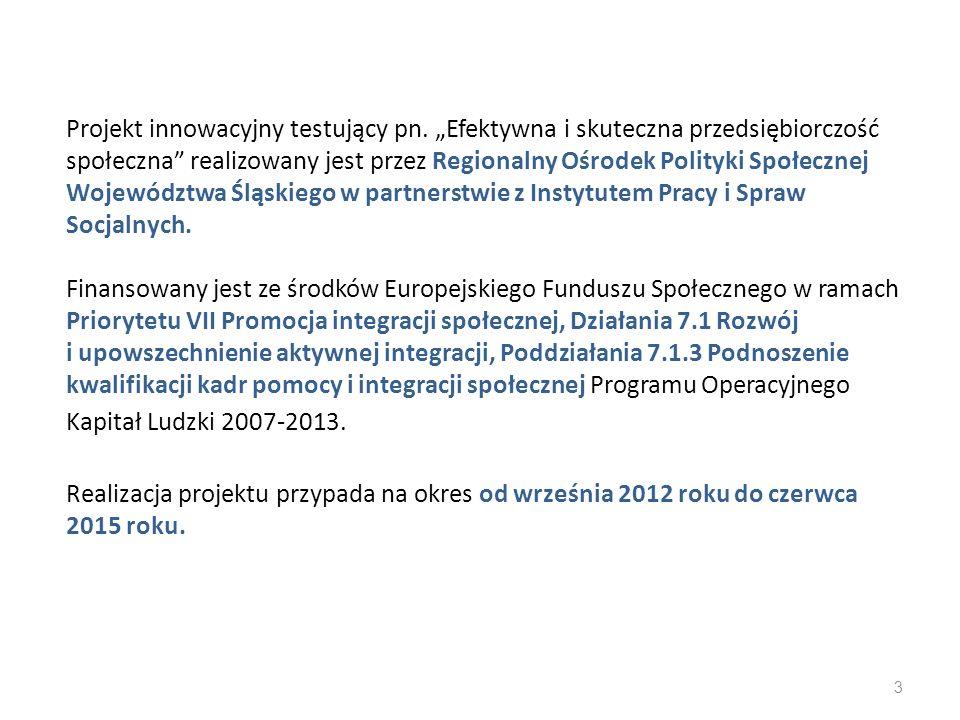 Cel główny projektu Wzmocnienie sektora ekonomii społecznej w województwie śląskim w zakresie rozpoznawania czynników efektywności gospodarczej i społecznej podmiotów ekonomii społecznej, dzięki upowszechnieniu modelowego narzędzia do oceny efektywności i benchmarkingu podmiotów ekonomii społecznej do 30 czerwca 2015 roku.