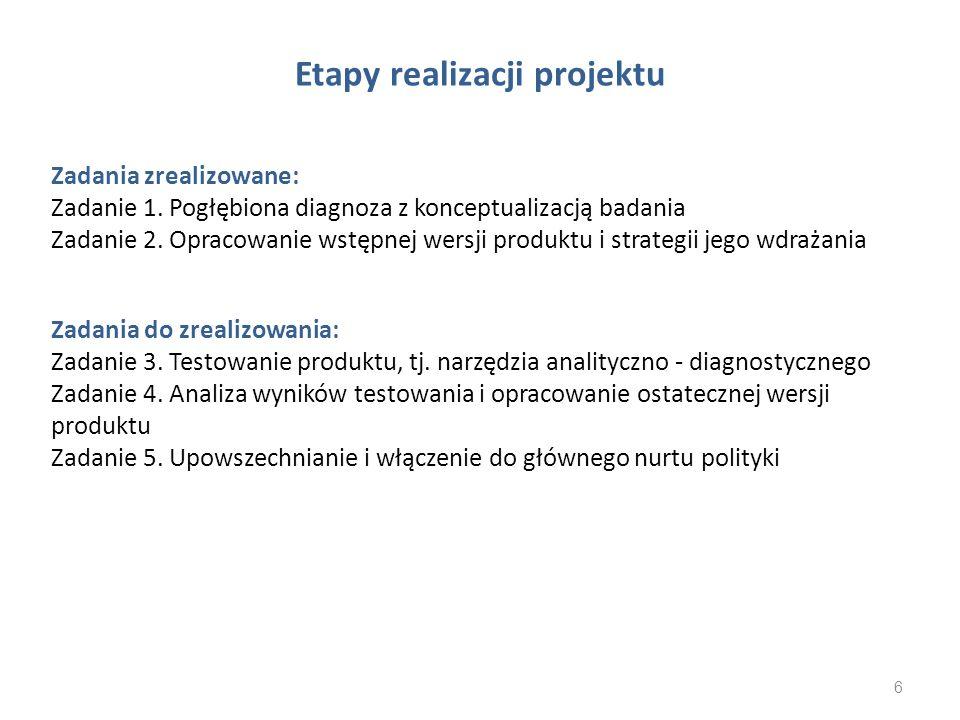 Etapy realizacji projektu Zadania zrealizowane: Zadanie 1. Pogłębiona diagnoza z konceptualizacją badania Zadanie 2. Opracowanie wstępnej wersji produ