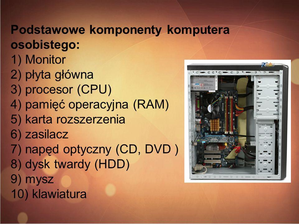 Podstawowe komponenty komputera osobistego: 1) Monitor 2) płyta główna 3) procesor (CPU) 4) pamięć operacyjna (RAM) 5) karta rozszerzenia 6) zasilacz