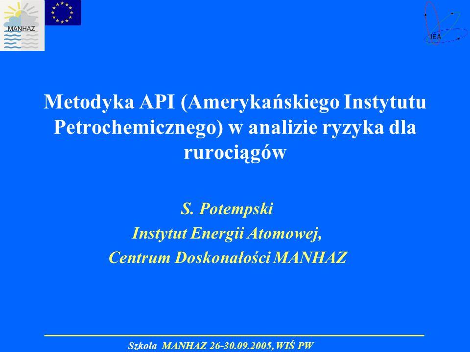 Szkoła MANHAZ 26-30.09.2005, WIŚ PW Metodyka API (Amerykańskiego Instytutu Petrochemicznego) w analizie ryzyka dla rurociągów S. Potempski Instytut En