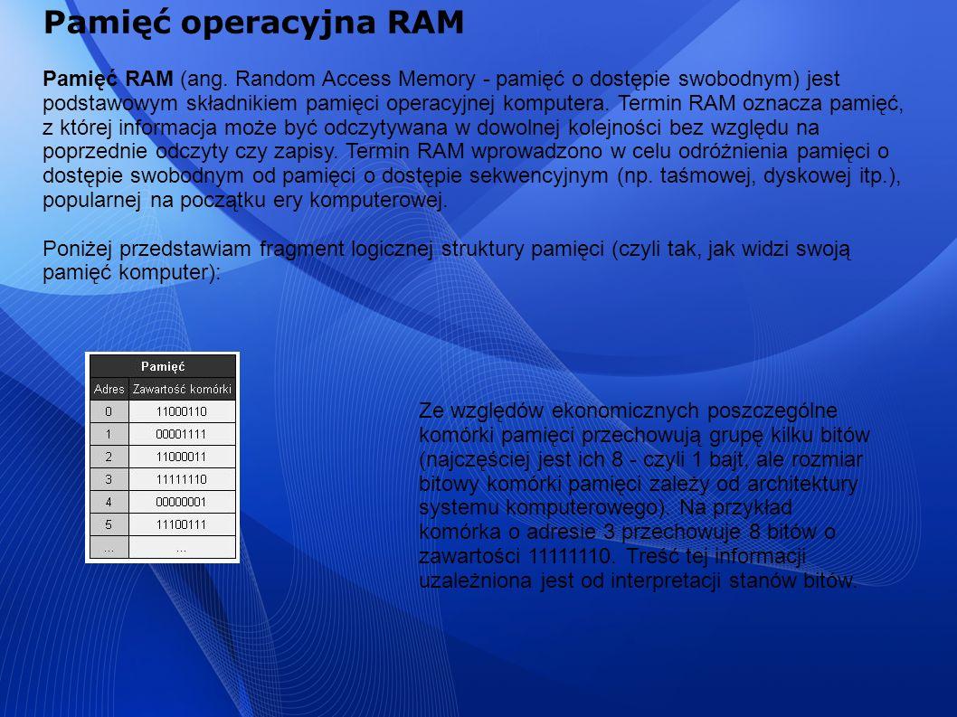 Pamięć operacyjna RAM Pamięć RAM (ang. Random Access Memory - pamięć o dostępie swobodnym) jest podstawowym składnikiem pamięci operacyjnej komputera.