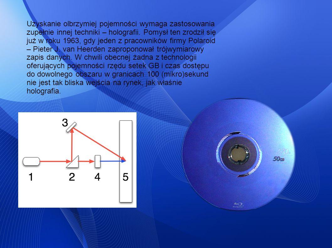 Uzyskanie olbrzymiej pojemności wymaga zastosowania zupełnie innej techniki – holografii. Pomysł ten zrodził się już w roku 1963, gdy jeden z pracowni