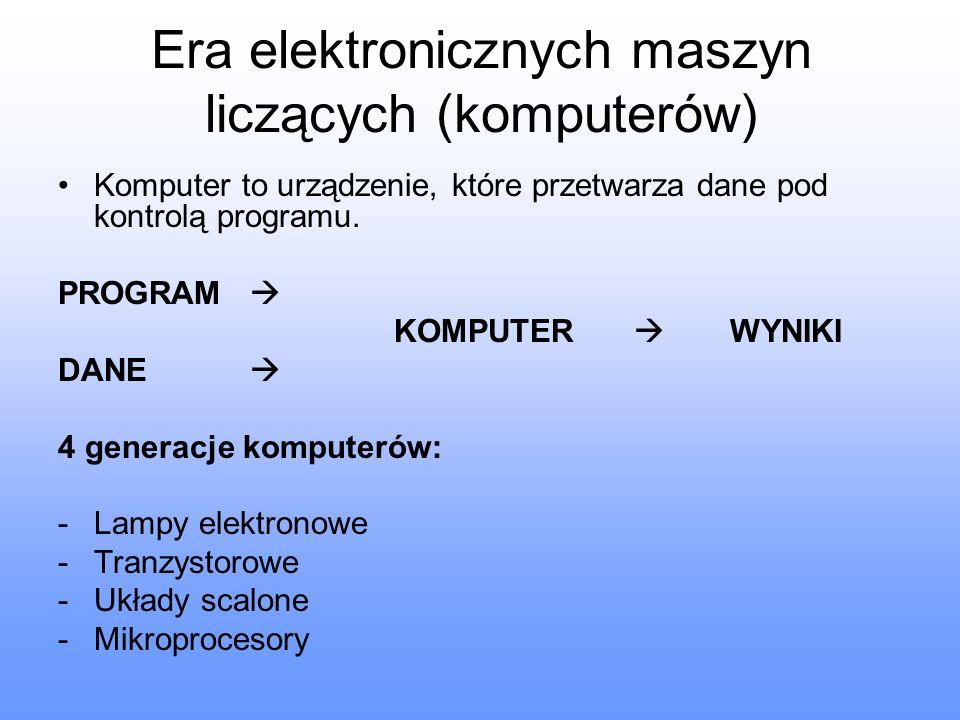Era elektronicznych maszyn liczących (komputerów) Komputer to urządzenie, które przetwarza dane pod kontrolą programu. PROGRAM KOMPUTER WYNIKI DANE 4
