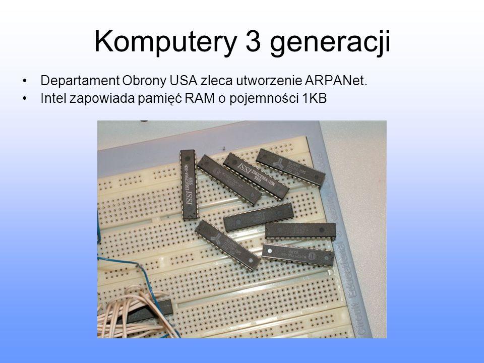 Komputery 3 generacji Departament Obrony USA zleca utworzenie ARPANet. Intel zapowiada pamięć RAM o pojemności 1KB