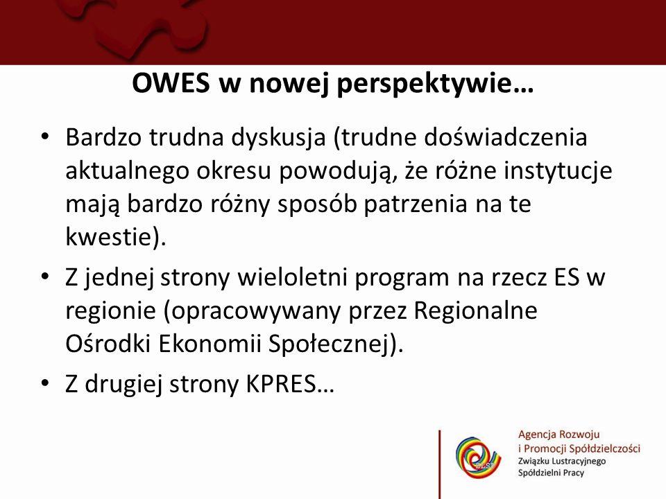 OWES w nowej perspektywie… Bardzo trudna dyskusja (trudne doświadczenia aktualnego okresu powodują, że różne instytucje mają bardzo różny sposób patrz