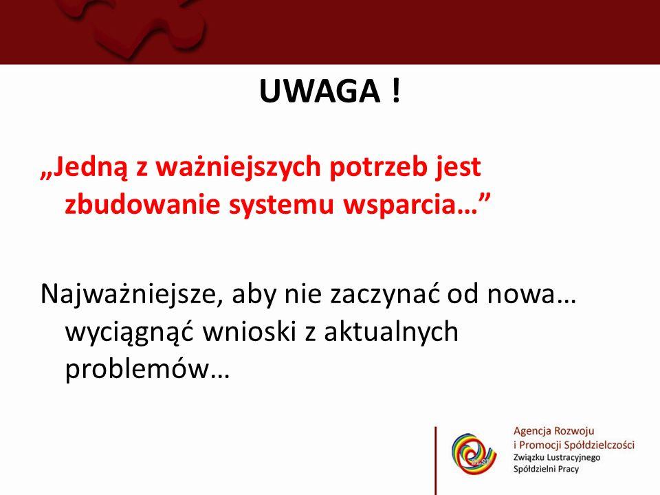 UWAGA ! Jedną z ważniejszych potrzeb jest zbudowanie systemu wsparcia… Najważniejsze, aby nie zaczynać od nowa… wyciągnąć wnioski z aktualnych problem
