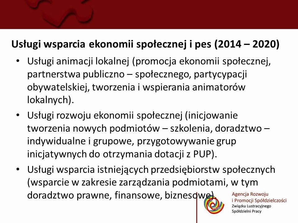 Usługi wsparcia ekonomii społecznej i pes (2014 – 2020) Usługi animacji lokalnej (promocja ekonomii społecznej, partnerstwa publiczno – społecznego, p