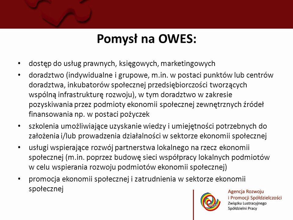 Pomysł na OWES: dostęp do usług prawnych, księgowych, marketingowych doradztwo (indywidualne i grupowe, m.in. w postaci punktów lub centrów doradztwa,