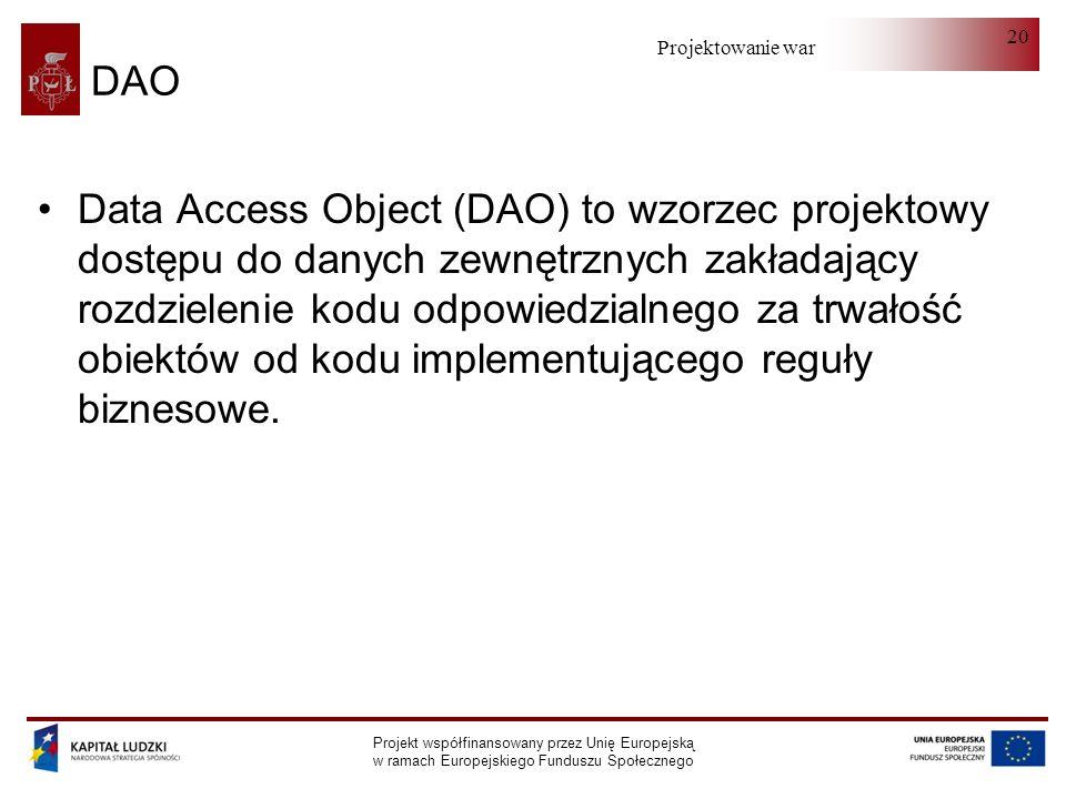 Projektowanie warstwy serwera Projekt współfinansowany przez Unię Europejską w ramach Europejskiego Funduszu Społecznego 20 DAO Data Access Object (DAO) to wzorzec projektowy dostępu do danych zewnętrznych zakładający rozdzielenie kodu odpowiedzialnego za trwałość obiektów od kodu implementującego reguły biznesowe.