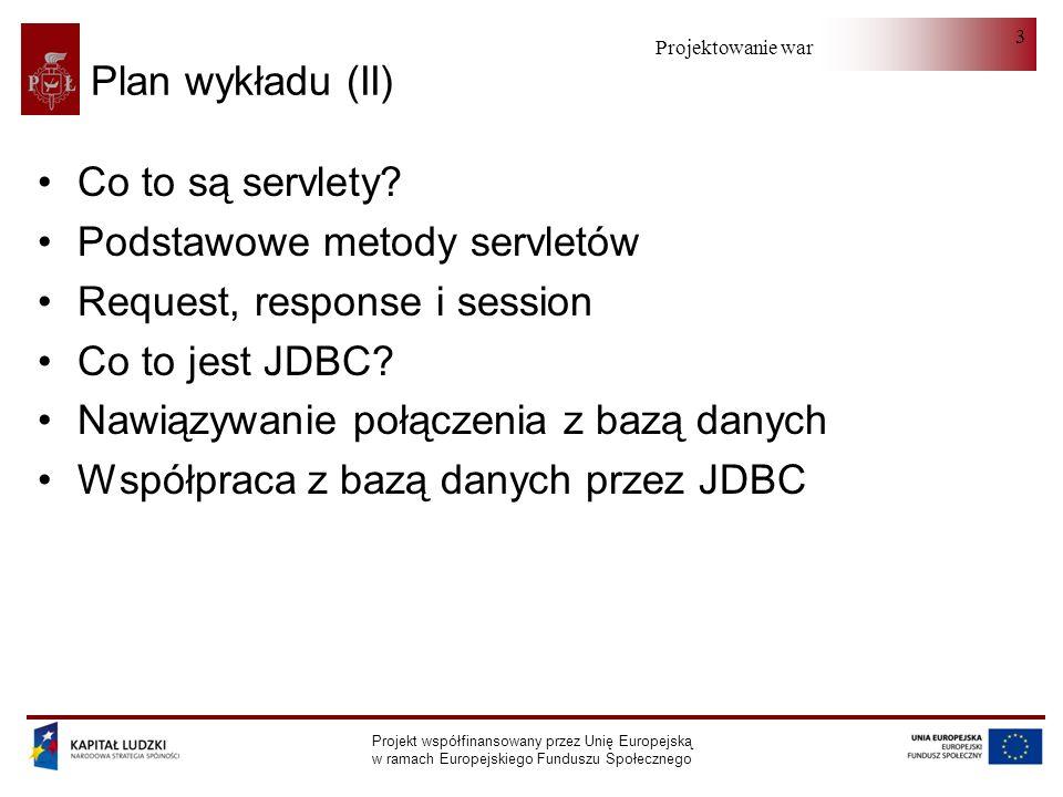 Projektowanie warstwy serwera Projekt współfinansowany przez Unię Europejską w ramach Europejskiego Funduszu Społecznego 14 HttpSession (II) request.getSession().setAttribute( preselection, preselection); preselection = (Preselection) request.getSession().getAttribute(preselection); request.getSession().removeAttribute( preselection); Long time = request.getSession().getLastAccessedTime(); request.getSession().setMaxInactiveInterval(1); // sekundy request.getSession().getId();