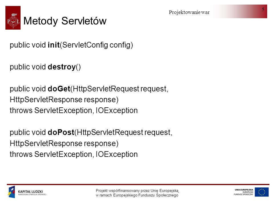 Projektowanie warstwy serwera Projekt współfinansowany przez Unię Europejską w ramach Europejskiego Funduszu Społecznego 6 Przykładowy Servlet public class PrzykladServlet extends HttpServlet { public void doGet (HttpServletRequest request, HttpServletResponse response) throws ServletException, IOException { PrintWriter out; String title = Tytul ; response.setContentType( text/html ); out = response.getWriter(); out.println(HTML>\n + Strona1 \n + \n + + title+ \n + ); out.close(); }