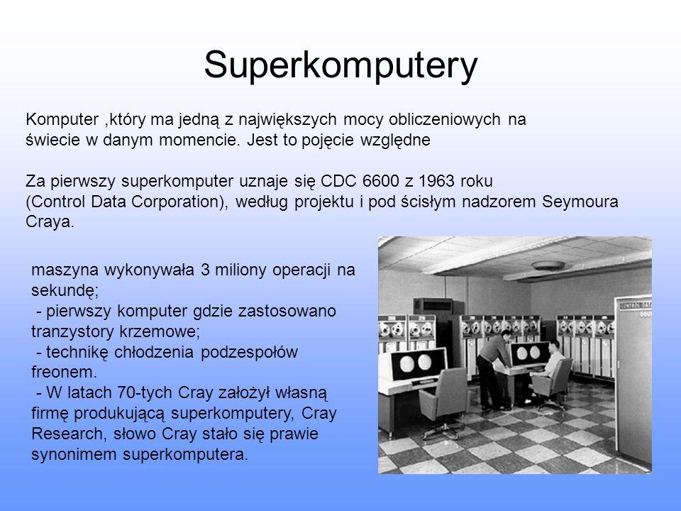 Superkomputery Komputer,który ma jedną z największych mocy obliczeniowych na świecie w danym momencie. Jest to pojęcie względne Za pierwszy superkompu