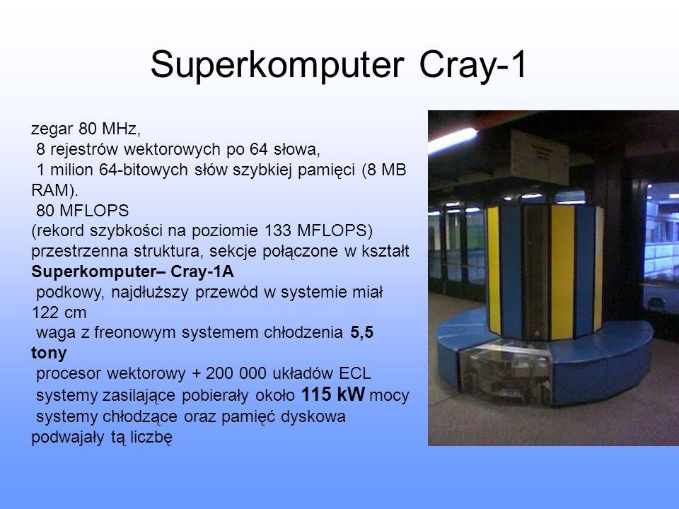 Superkomputer Cray-1 zegar 80 MHz, 8 rejestrów wektorowych po 64 słowa, 1 milion 64-bitowych słów szybkiej pamięci (8 MB RAM). 80 MFLOPS (rekord szybk