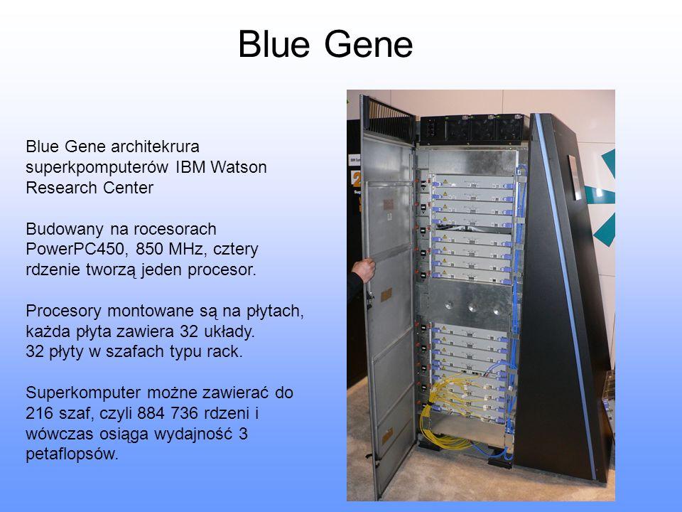 Blue Gene Blue Gene architekrura superkpomputerów IBM Watson Research Center Budowany na rocesorach PowerPC450, 850 MHz, cztery rdzenie tworzą jeden p