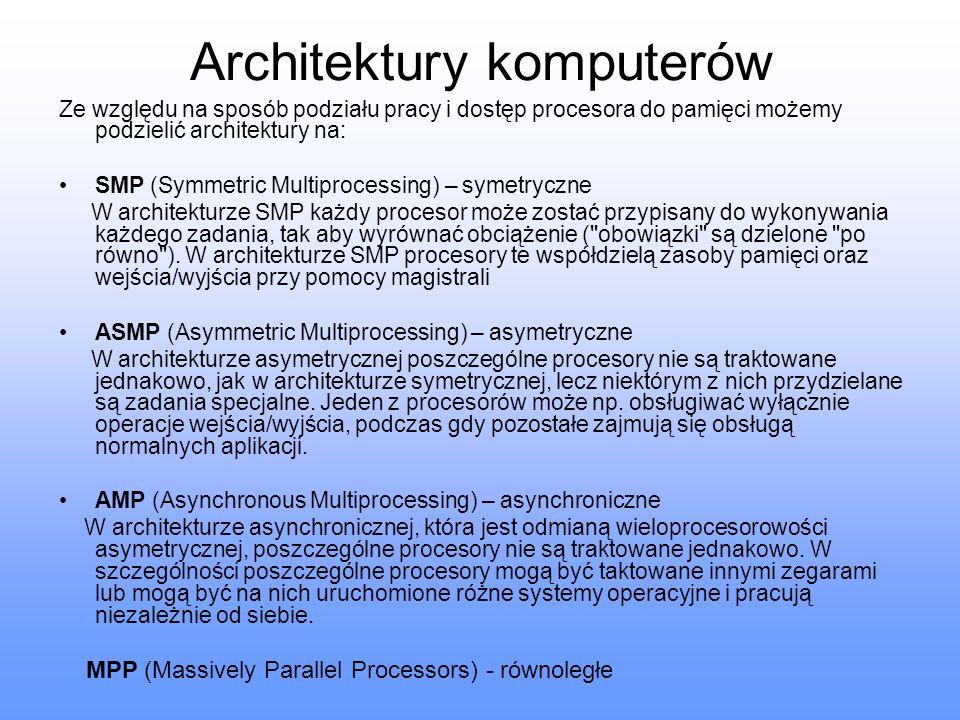 Architektury komputerów Ze względu na sposób podziału pracy i dostęp procesora do pamięci możemy podzielić architektury na: SMP (Symmetric Multiproces