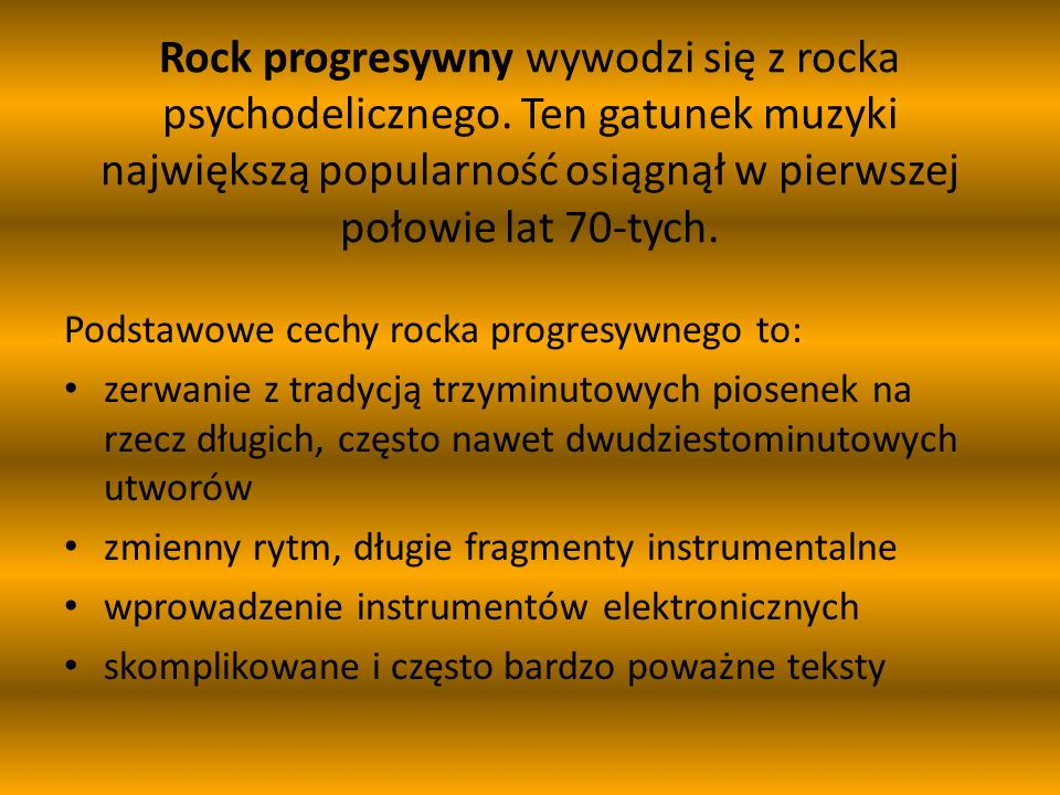Wielka szóstka rocka progresywnego to: Emerson, Lake and Palmer Genesis Jethro Tull King Crimson Pink Floyd Yes