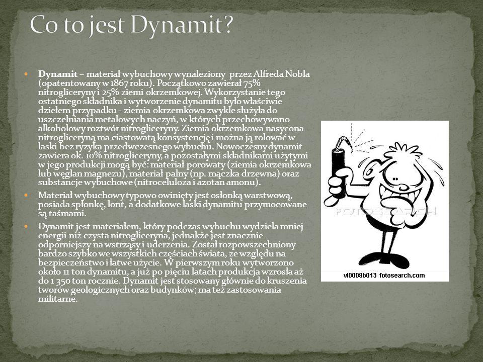 Co to jest Dynamit? Budowa Dynamitu. Krótka historia wynalazku. Alfred Nobel twórca Dynamitu. Testament Alfreda Nobla. Nagroda Nobla. Zastosowanie Dyn