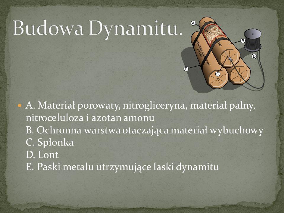 Dynamit – materiał wybuchowy wynaleziony przez Alfreda Nobla (opatentowany w 1867 roku). Początkowo zawierał 75% nitrogliceryny i 25% ziemi okrzemkowe