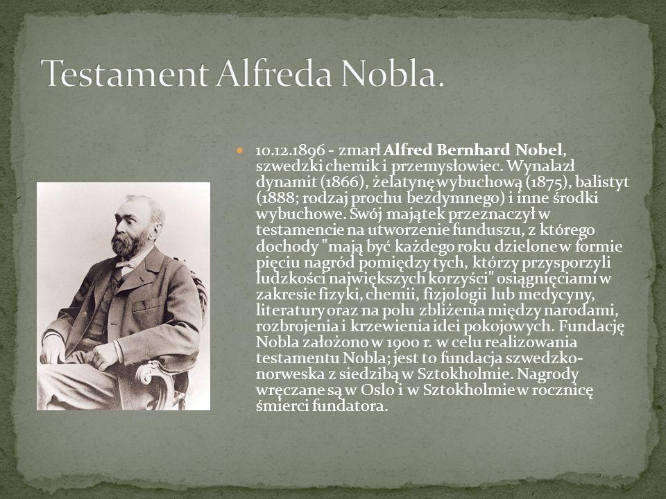 …chemik szwedzki - Alfred Bernhard Nobel. Jednak wynalazek został odkryty dzięki ojcu Alfreda - Immanuelowi Noblowi. Jego rodzina (Alfreda) pochodziła