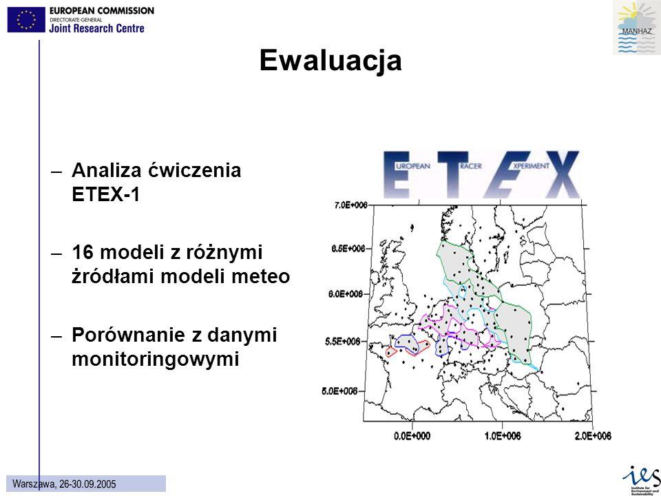 51 Warszawa, 26-30.09.2005 Ewaluacja –Analiza ćwiczenia ETEX-1 –16 modeli z różnymi żródłami modeli meteo –Porównanie z danymi monitoringowymi