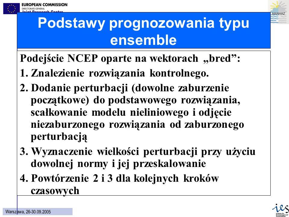 6 Wars z aw a, 26 - 30.09.2005 Podstawy prognozowania typu ensemble Podejście NCEP oparte na wektorach bred: 1.