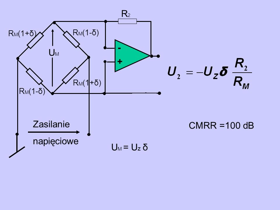- + R2R2 U M = U z δ Zasilanie napięciowe R M (1-δ) R M (1+δ) UMUM CMRR =100 dB