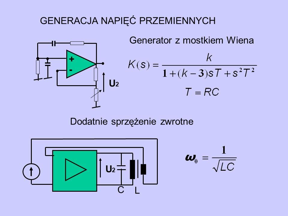 U2U2 + - GENERACJA NAPIĘĆ PRZEMIENNYCH Generator z mostkiem Wiena Dodatnie sprzężenie zwrotne L C U2U2