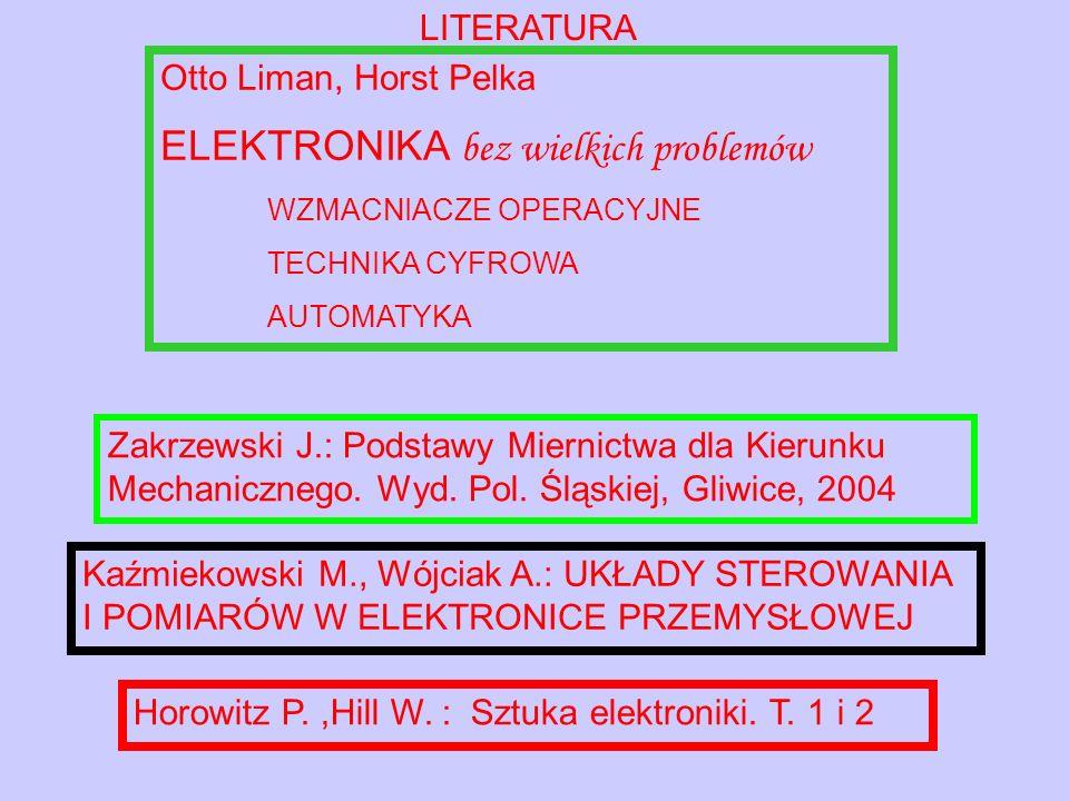 LITERATURA Otto Liman, Horst Pelka ELEKTRONIKA bez wielkich problemów WZMACNIACZE OPERACYJNE TECHNIKA CYFROWA AUTOMATYKA Horowitz P.,Hill W.