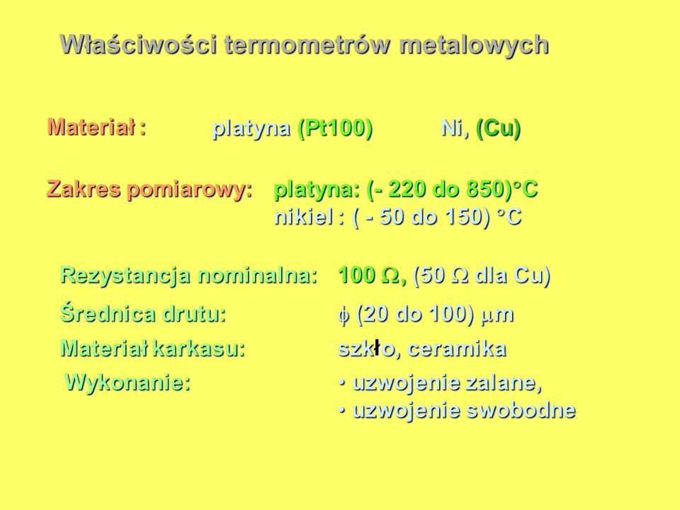 Właściwości termometrów metalowych Materiał : platyna (Pt100) Ni, (Cu) Zakres pomiarowy: platyna: (- 220 do 850) C nikiel : ( - 50 do 150) C uzwojenie