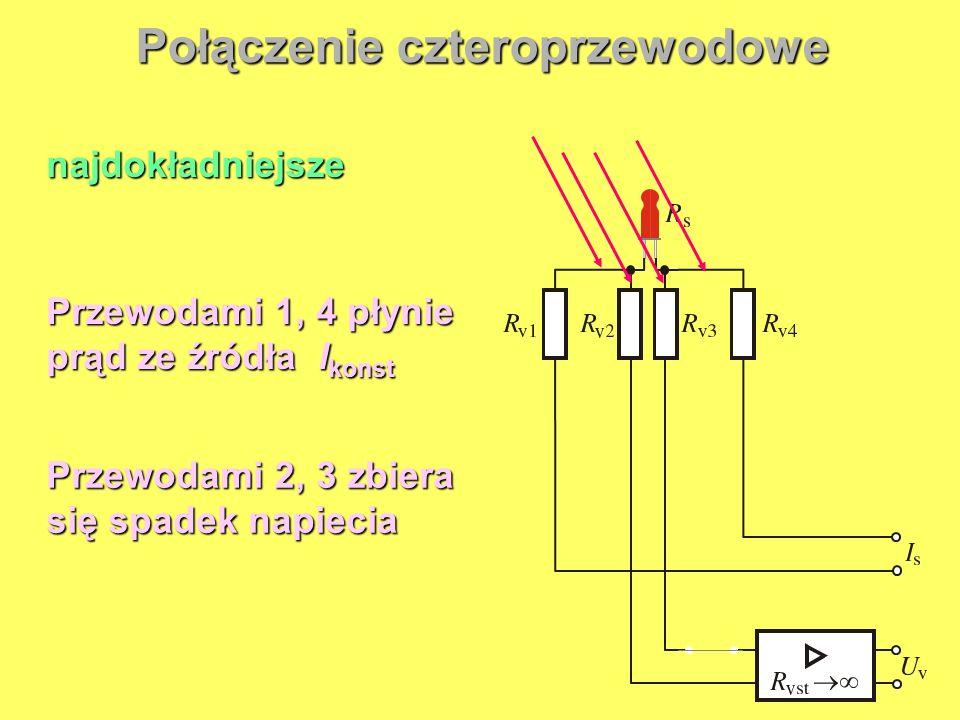 Przewodami 1, 4 płynie prąd ze źródła I konst Przewodami 2, 3 zbiera się spadek napiecia najdokładniejsze Połączenie czteroprzewodowe