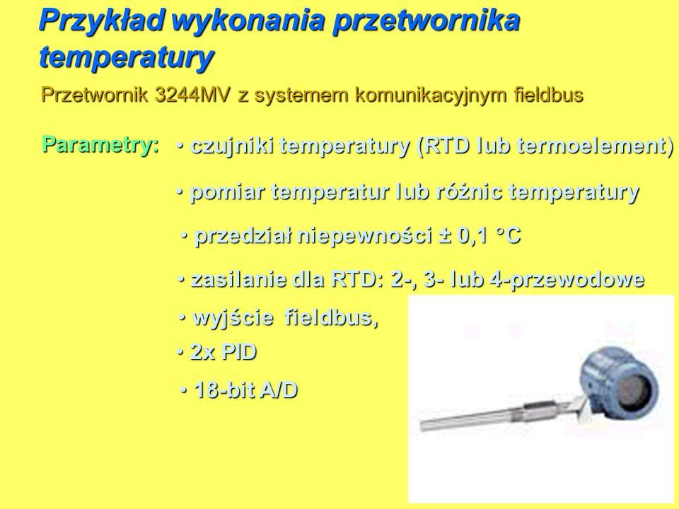 Przetwornik 3244MV z systemem komunikacyjnym fieldbus Przykład wykonania przetwornika temperatury Parametry: przedział niepewności ± 0,1 C przedział n