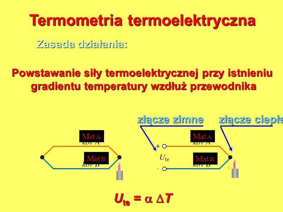 Termometria termoelektryczna Zasada działania: Powstawanie siły termoelektrycznej przy istnieniu gradientu temperatury wzdłuż przewodnika gradientu te