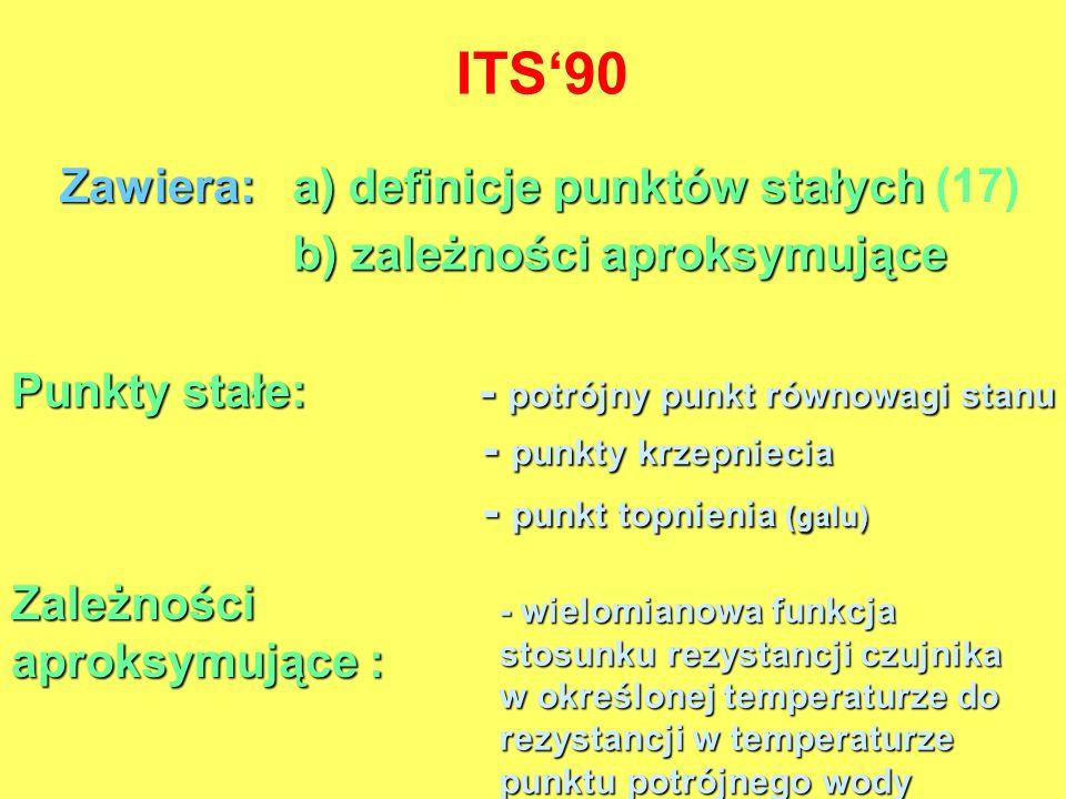 ITS90 Zawiera: a) definicje punktów stałych a) definicje punktów stałych (17) b) zależności aproksymujące Zależności aproksymujące : - wielomianowa fu