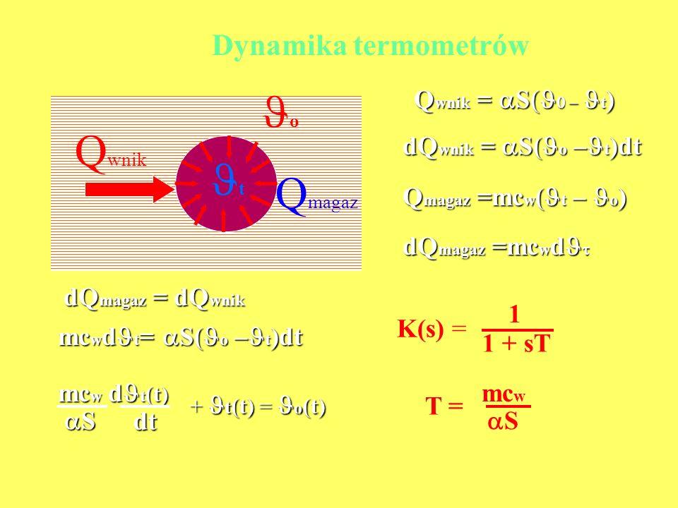 t o Q wnik Q magaz Q wnik = S t ) dQ wnik = S( o – t )dt Q magaz =mc w ( t – o ) dQ magaz =mc w d dQ magaz =mc w d dQ magaz = dQ wnik mc w d t = S( o