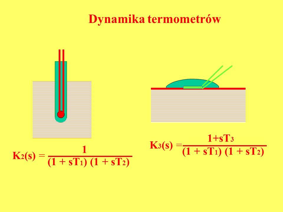 K 2 (s) = (1 + sT 1 ) (1 + sT 2 ) 1 K 3 (s) = (1 + sT 1 ) (1 + sT 2 ) 1+sT 3 Dynamika termometrów