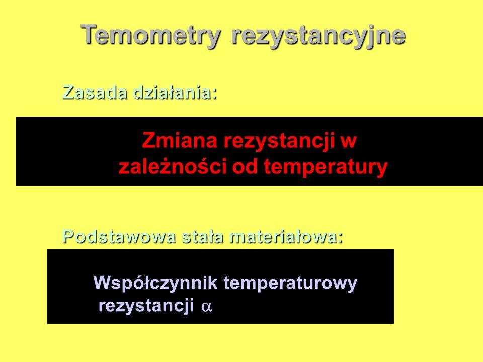 Temometry rezystancyjne Zasada działania: Zmiana rezystancji w zależności od temperatury Podstawowa stała materiałowa: Współczynnik temperaturowy rezy