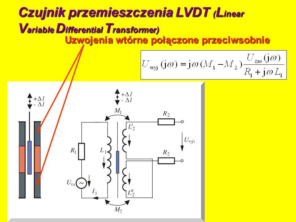 Czujnik przemieszczenia LVDT ( L inear V ariable D ifferential T ransformer) Uzwojenia wtórne połączone przeciwsobnie