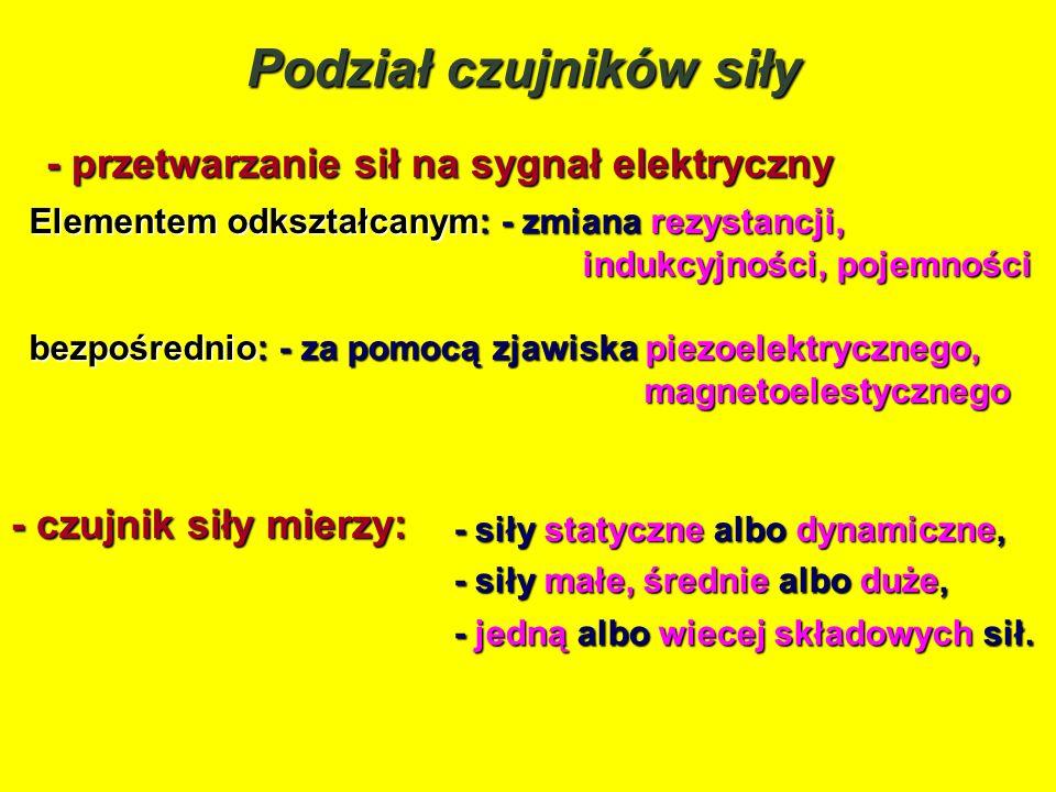 Podział czujników siły - przetwarzanie sił na sygnał elektryczny Elementem odkształcanym: - zmiana rezystancji, indukcyjności, pojemności indukcyjnośc